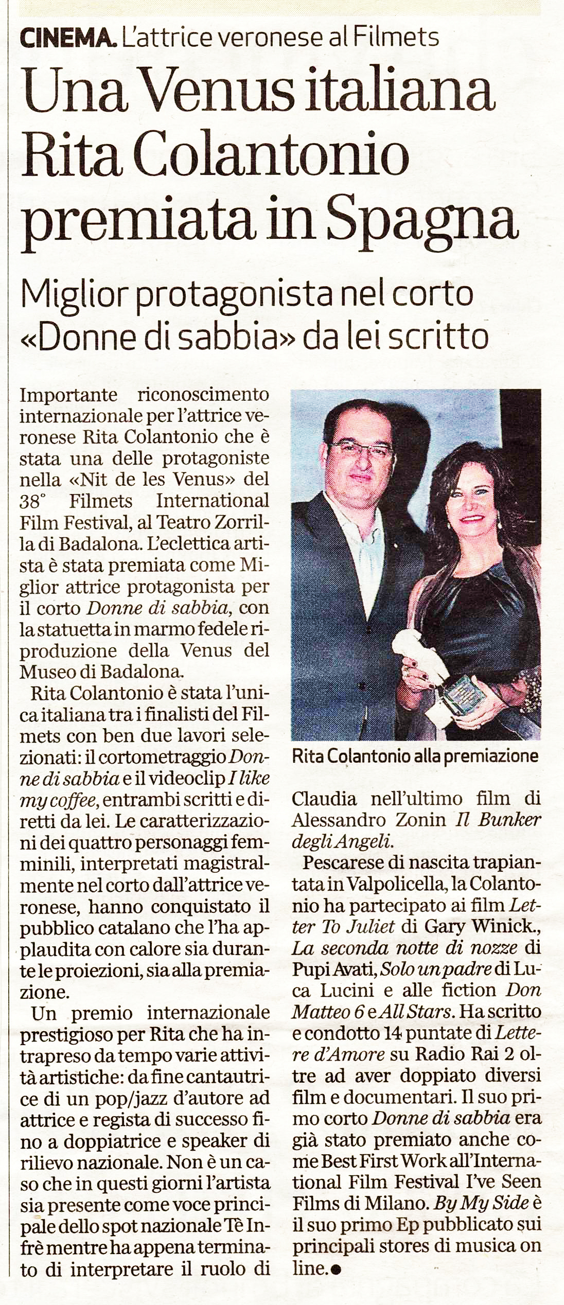 L'Arena dic. 2012 Best Actress Filmets copia