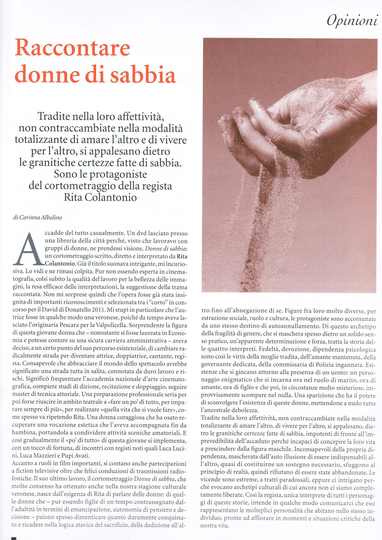 articolo Verona In su Donne di sabbia di Corinna Albolino MINI copia