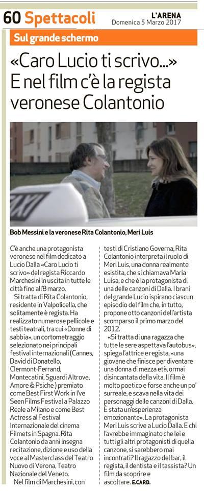 Rita Colantonio su L'Arena di Verona